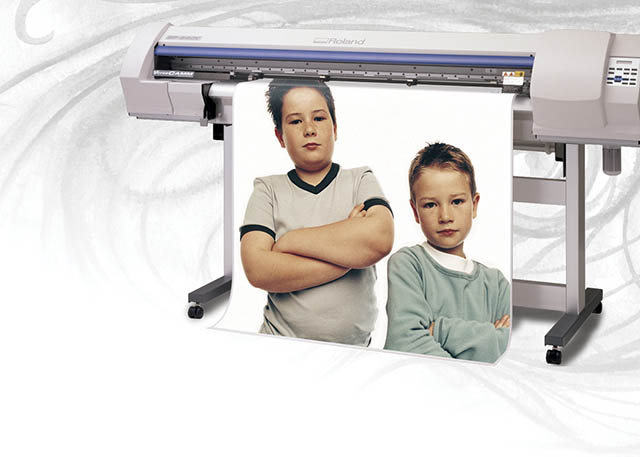 "2004 Roland capitalizes on the success of the VersaCAMM printer/cutter with a new 54"" model, the SP-540V."