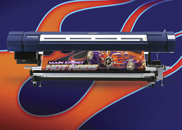 "2006 Roland introduces its fastest grand-format printer to date, the 104"" AdvancedJET AJ-1000 featuring EcoXtreme solvent ink."